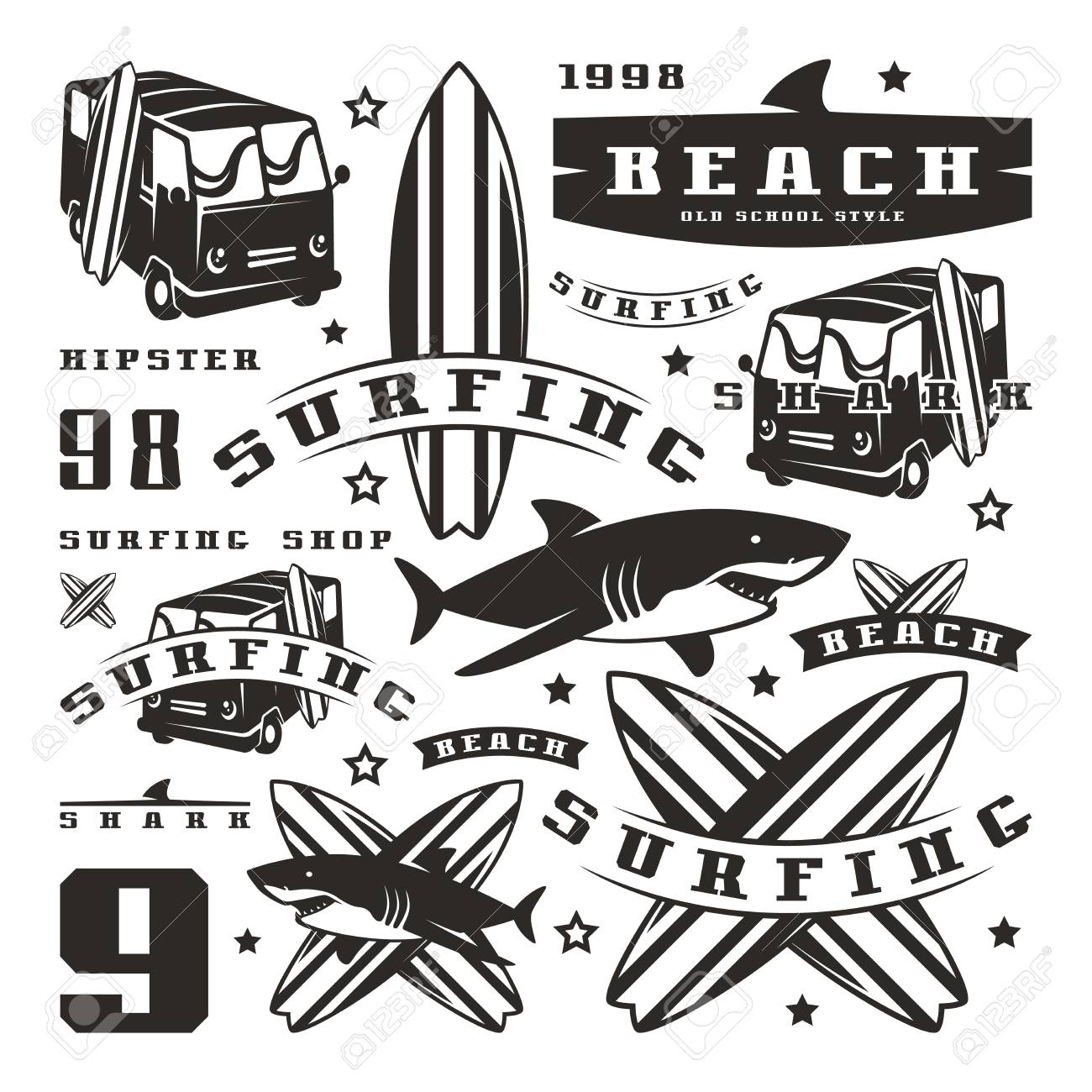 Vinyl sticker set of graphic elements bus surfing shark graphic design for t