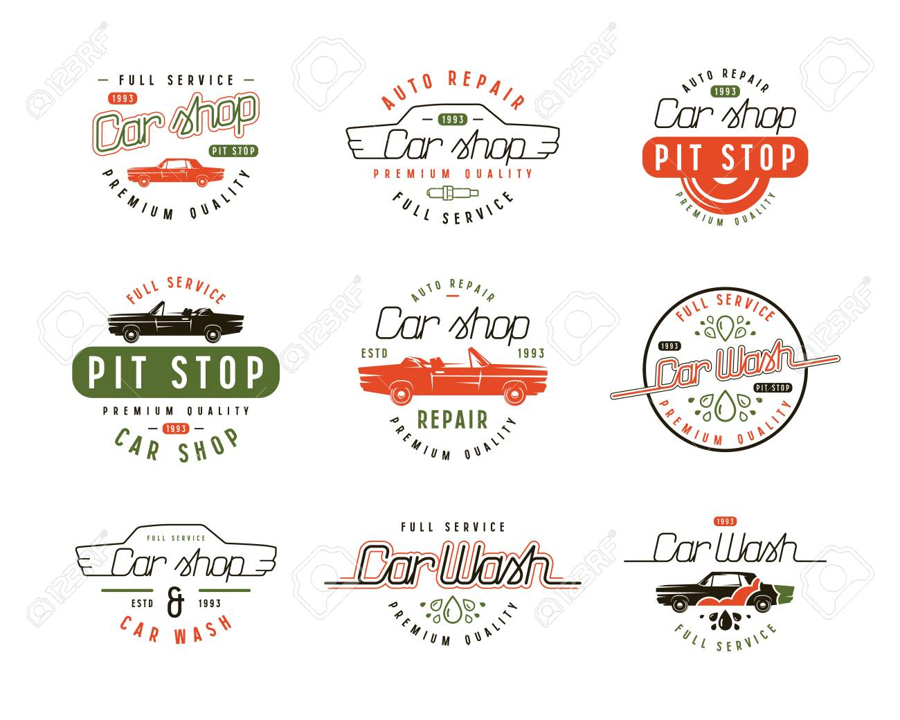 Car Wash And Shop Labels Color Print On White Background
