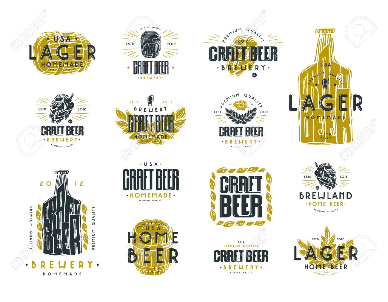 Set Of Craft Beer Label And Logo Graphic Design With Illustration