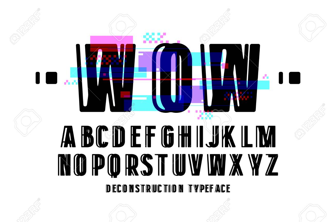 Decorative Sanserif Font Letters With Glitch Distortion Effect Design For Logo And Title Stock