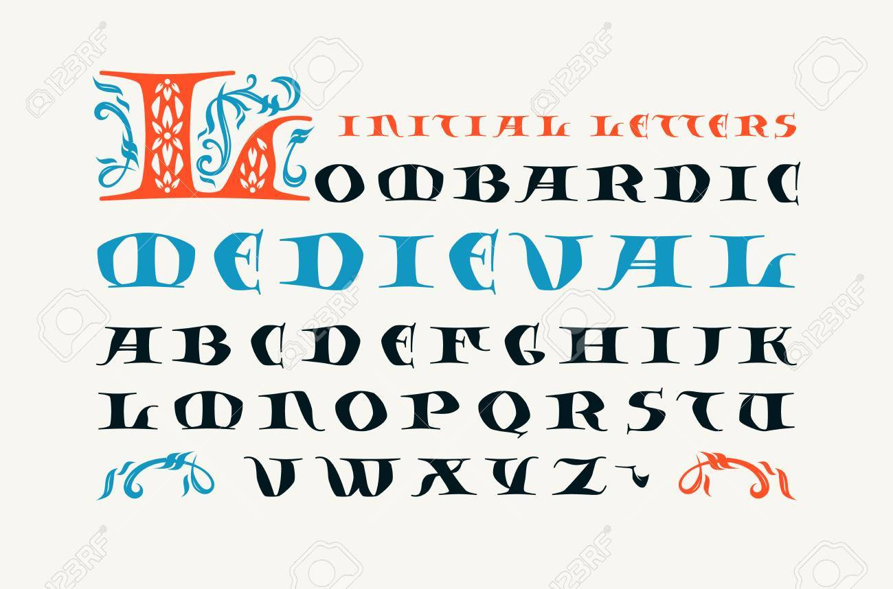 Lombardic medieval capital font  Initial letters for logo and