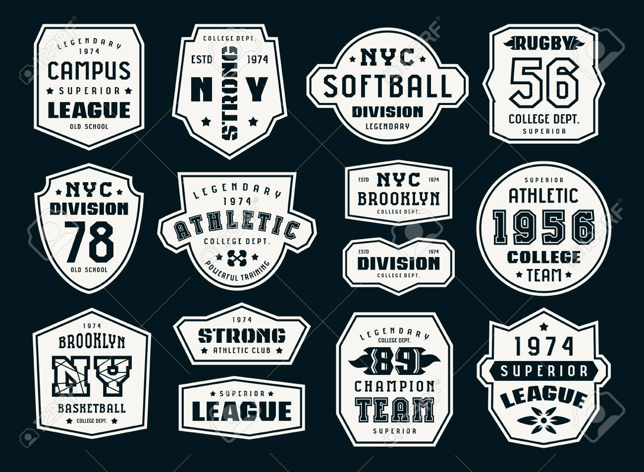 183ac1492 Set of emblems and patches in sport style. Softball, basketball and rugby  themes.