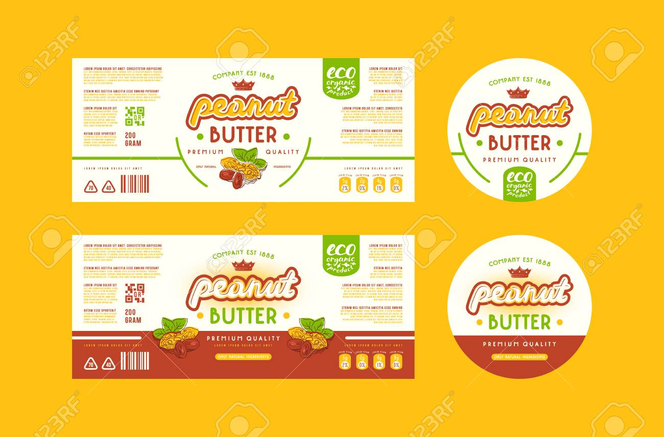 set of templates label for peanut butter. illustration with elements
