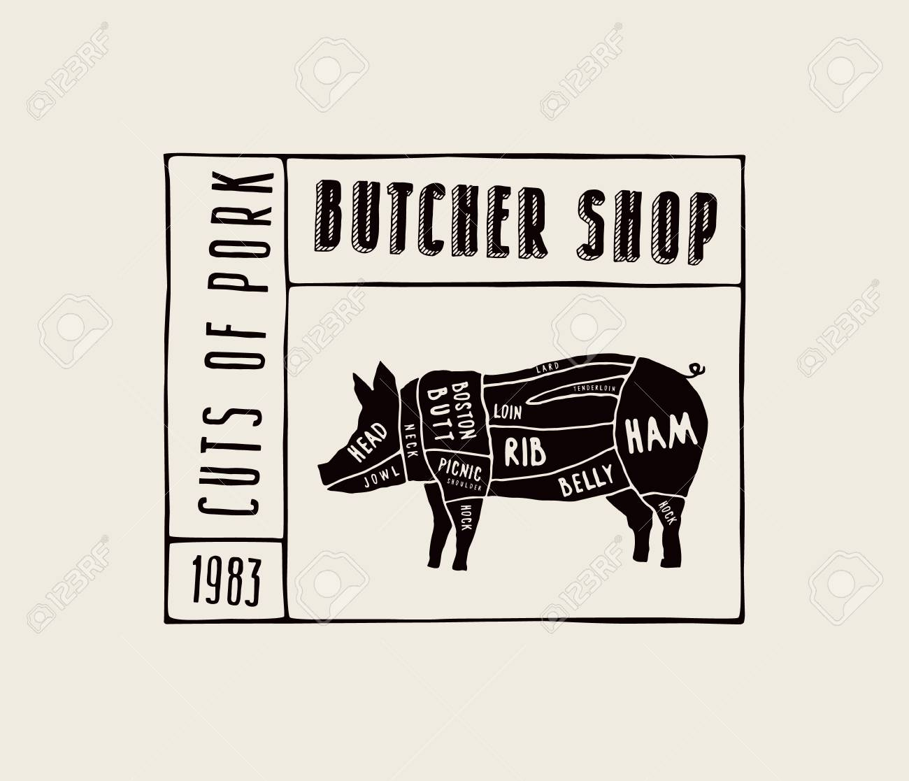 Stock Vector Pork Cuts Diagram In The Style Of Handmade Graphics ...