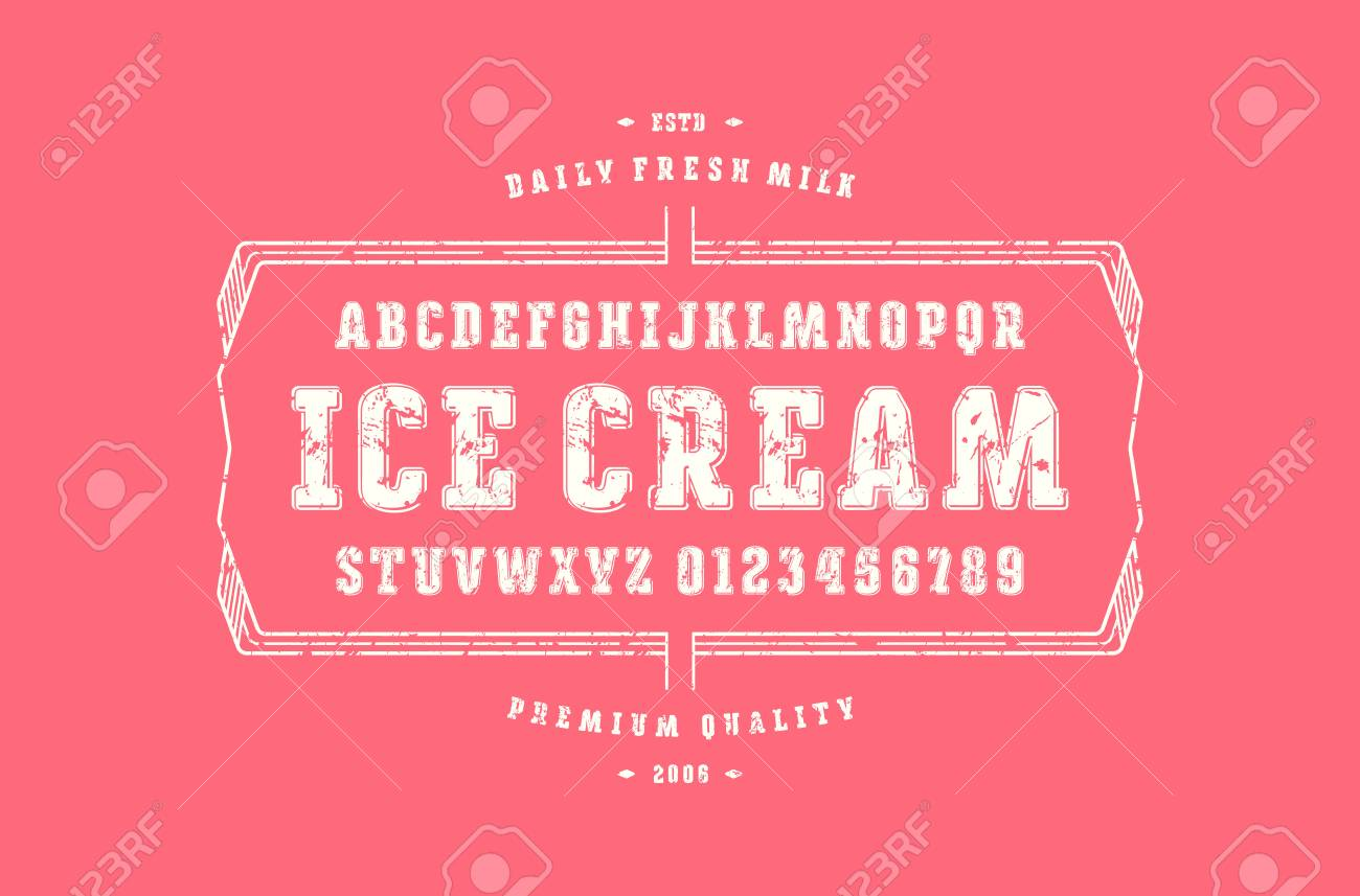 Decorative Serif Font With Rounded Corners. Label Template For ...
