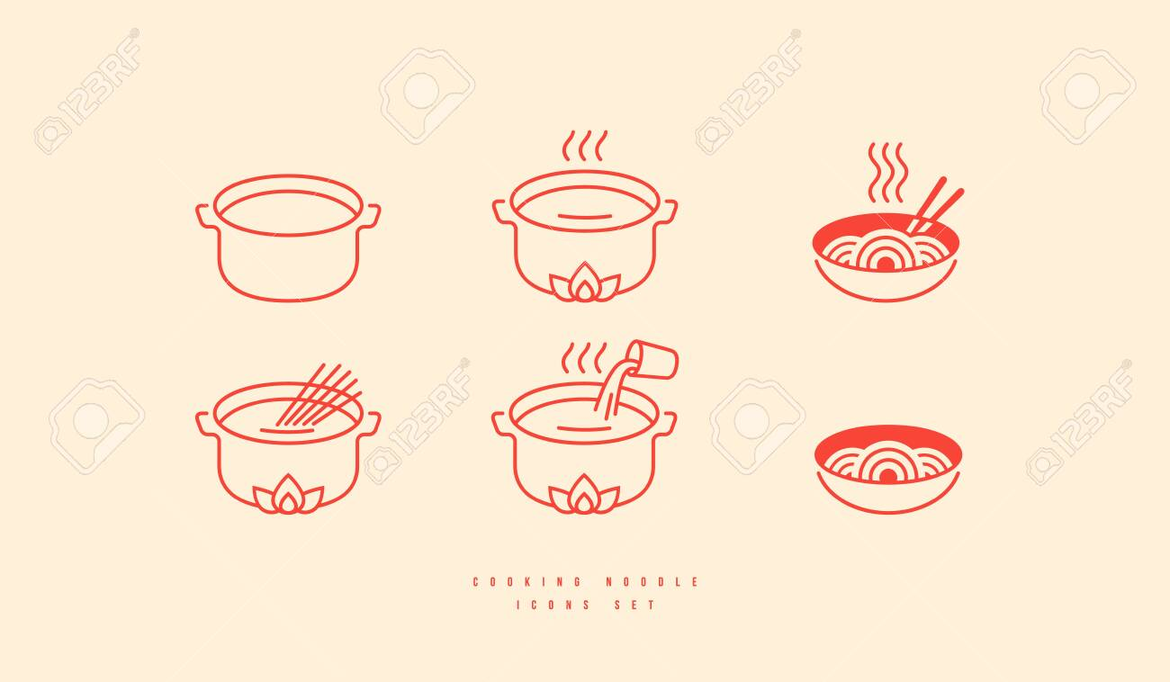 Icons set for soba noodle packaging. Elements in thin line style for cooking instructions - 141044462