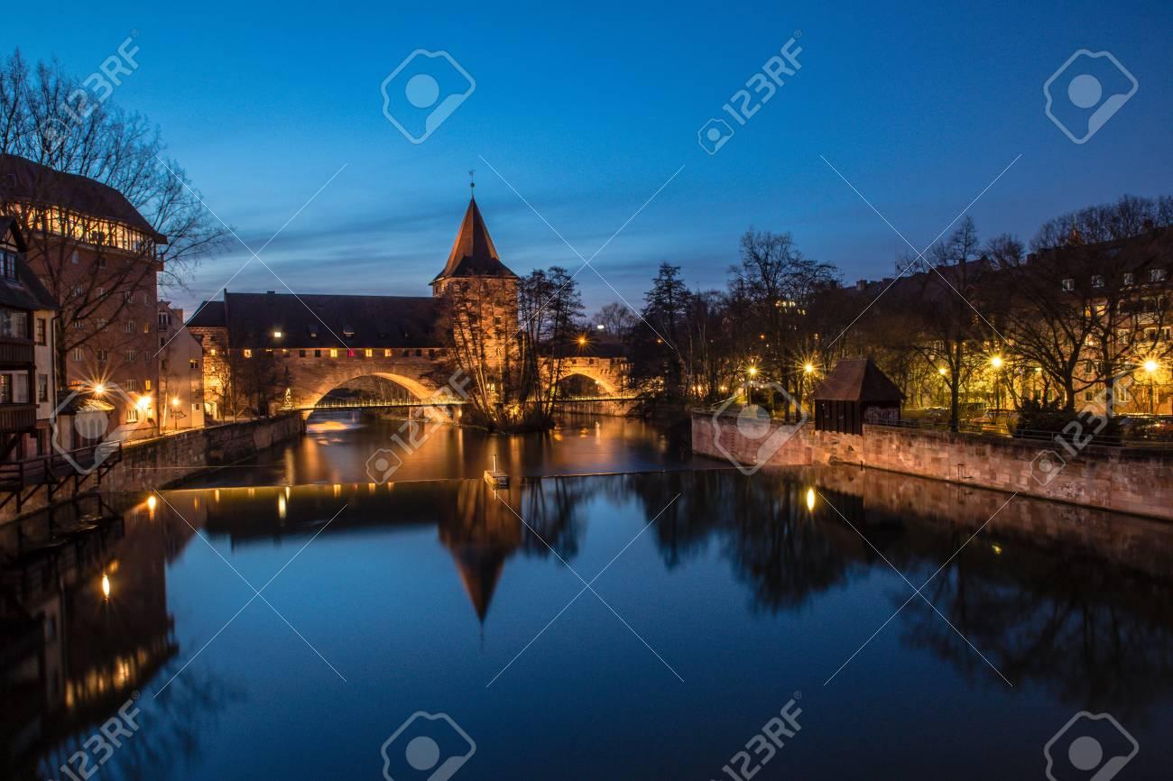 blue hour at river in nuremberg - 126599182