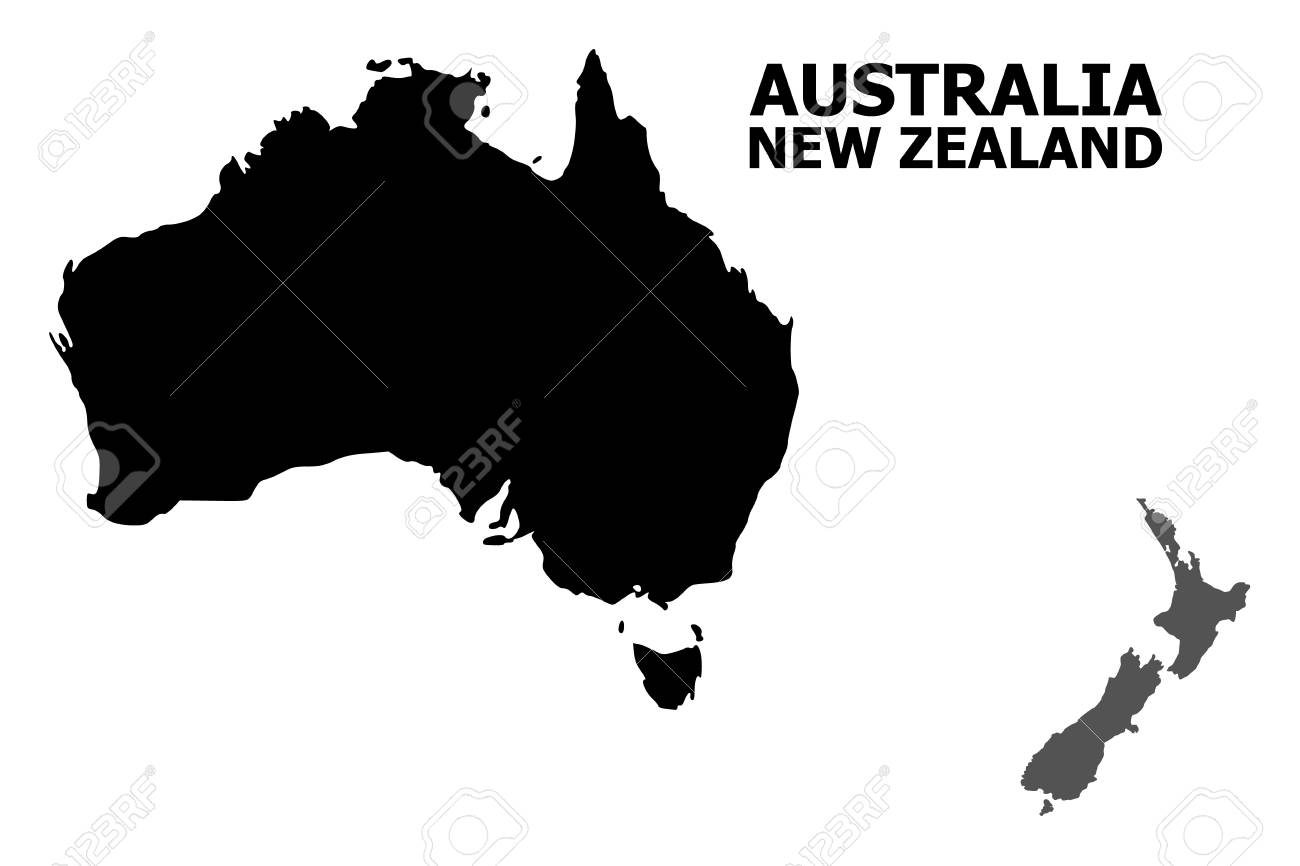 New Zealand Australia Map.Vector Map Of Australia And New Zealand With Title Map Of Australia