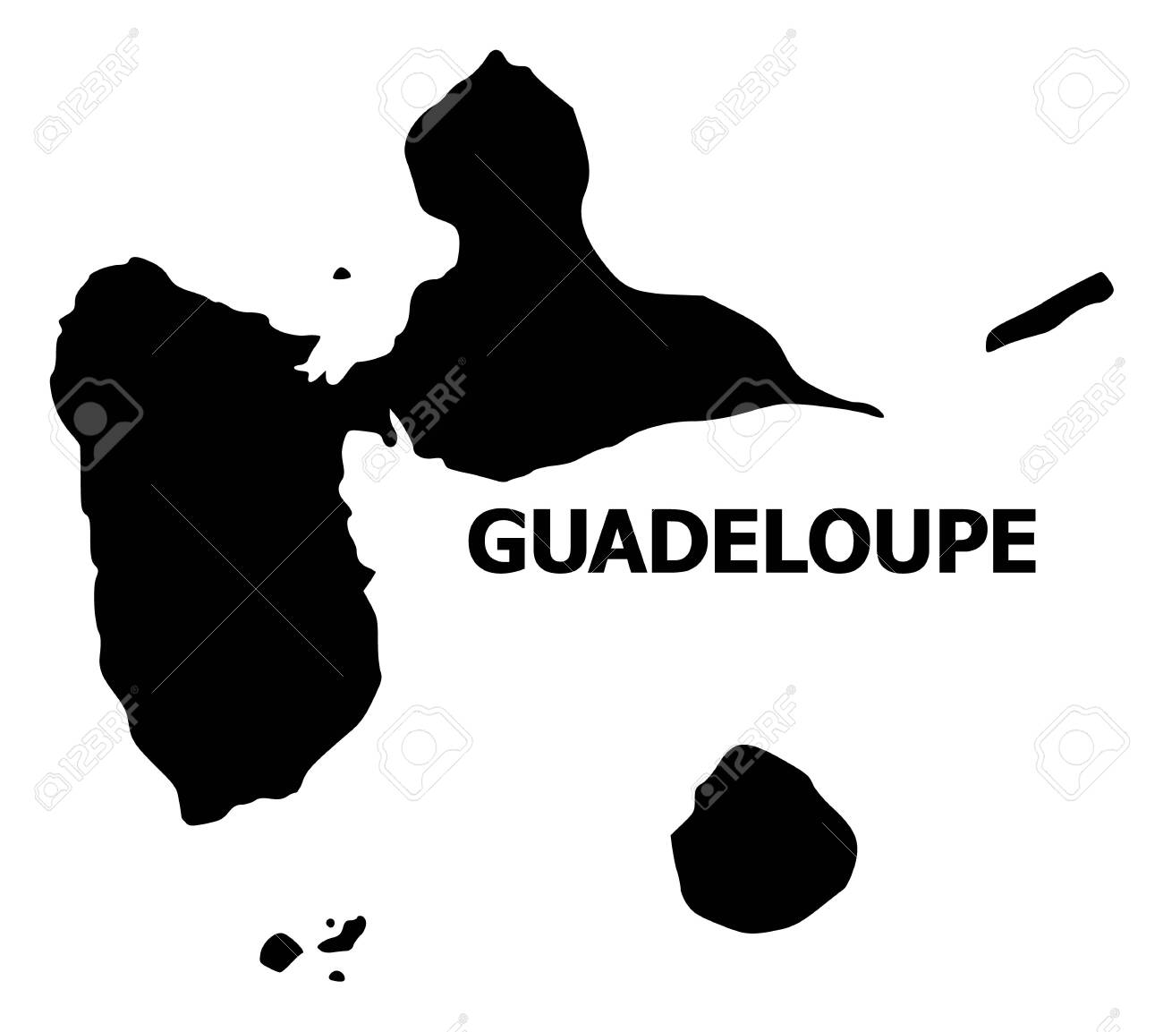 Vector Map of Guadeloupe with title. Map of Guadeloupe is isolated on a white background. Simple flat geographic map. - 120349334