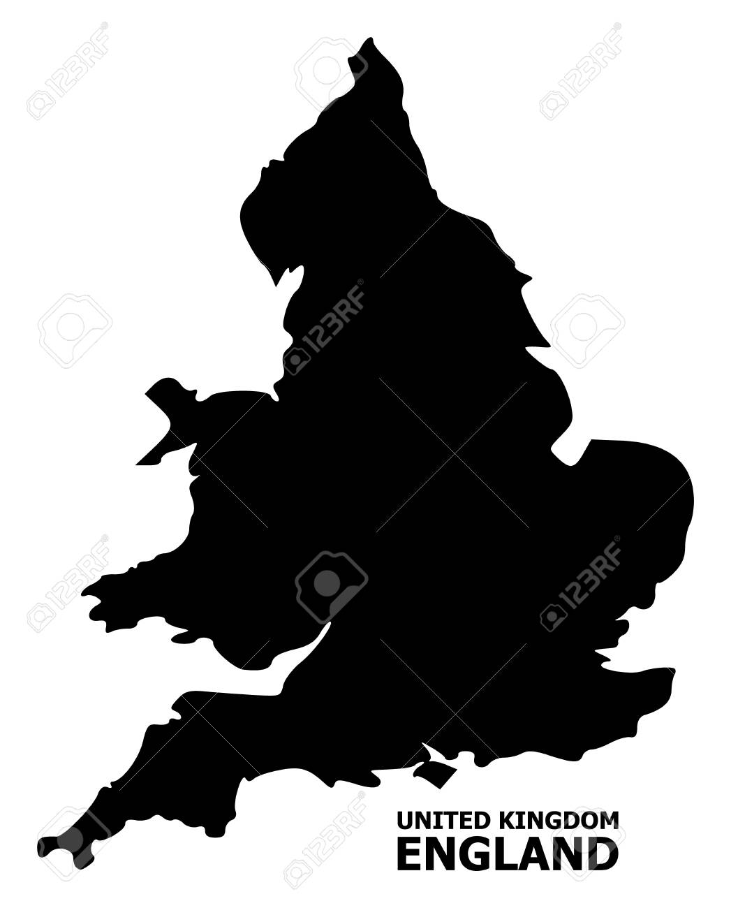 Simple Map Of England.Vector Map Of England With Title Map Of England Is Isolated