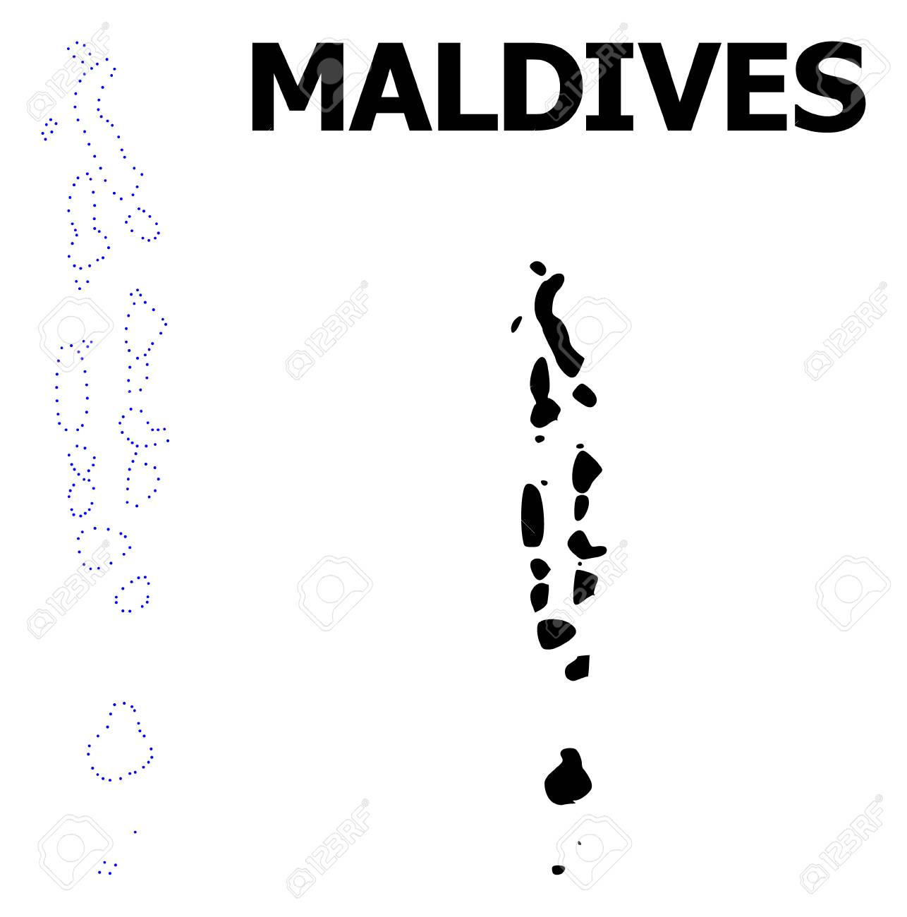 Vector Contour Map Of Maldives With Title Map Of Maldives Is