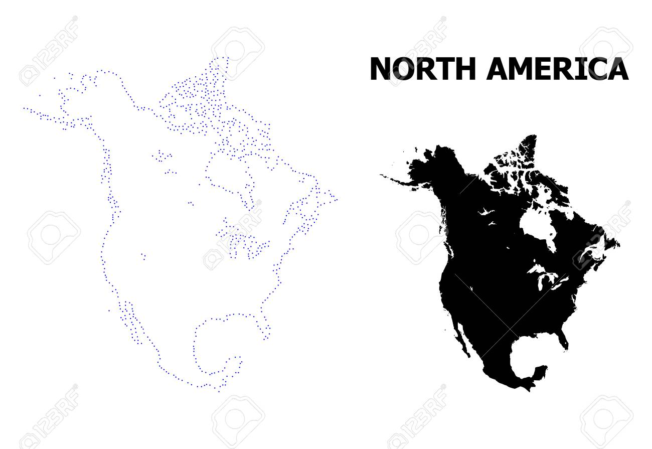 Vector contour Map of North America with title. Map of North..