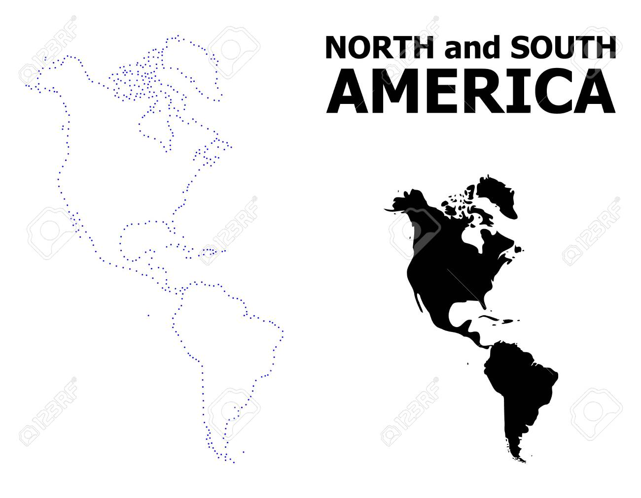Vector contour Map of South and North America with name. Map..