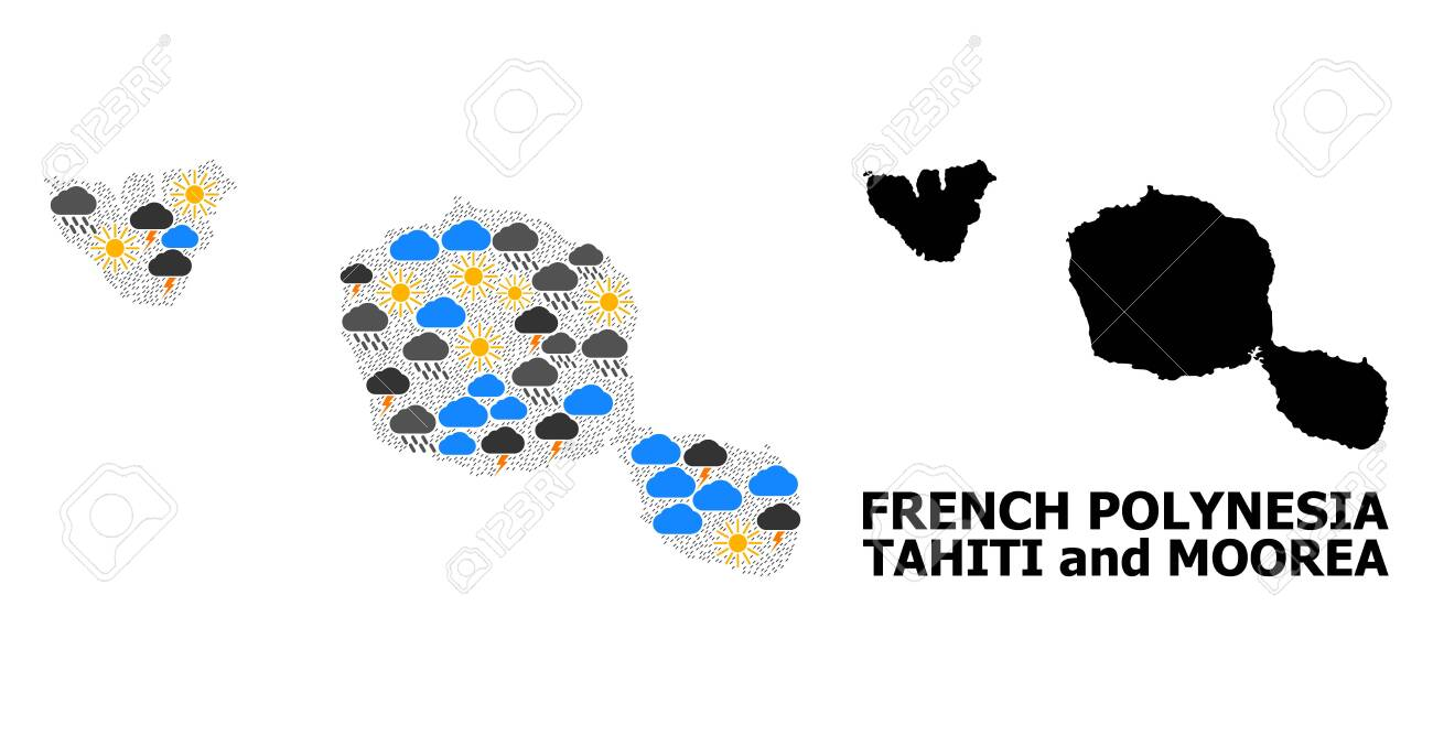 Weather Mosaic Vector Map Of Tahiti And Moorea Islands Geographic