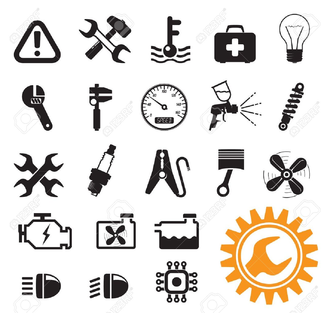 Car mechanic and service tools, icon set - 12493724