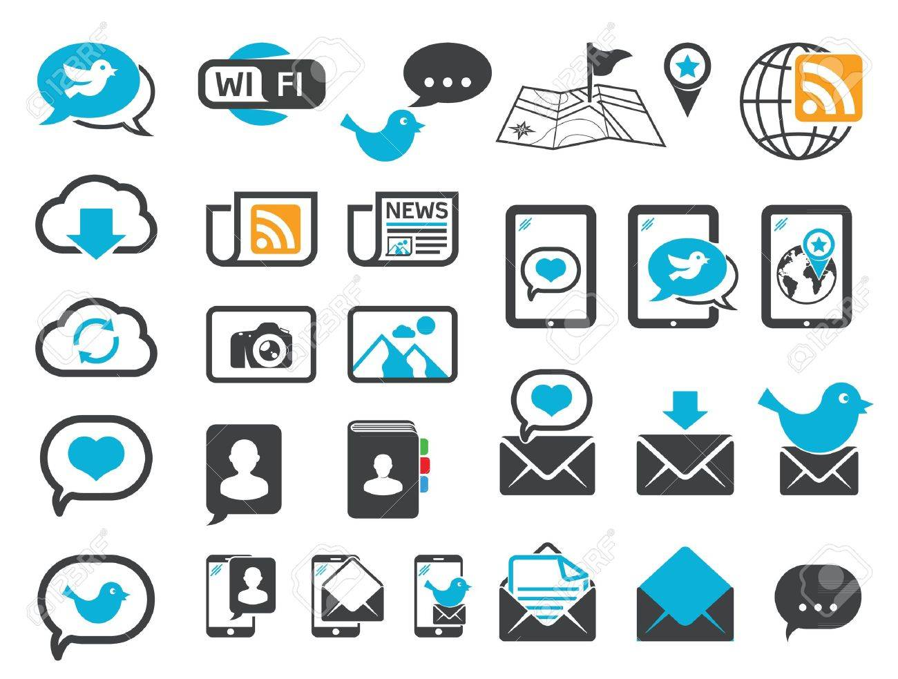 Modern communication icons - 14834408