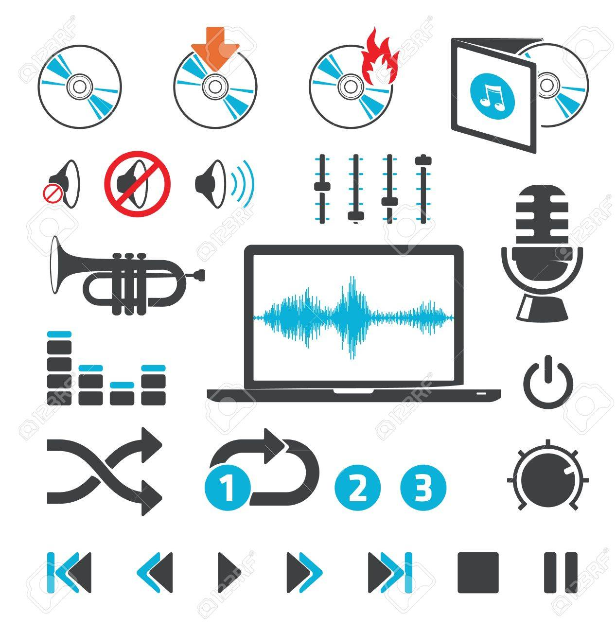 Audio-video computer icons and signs - 12711035