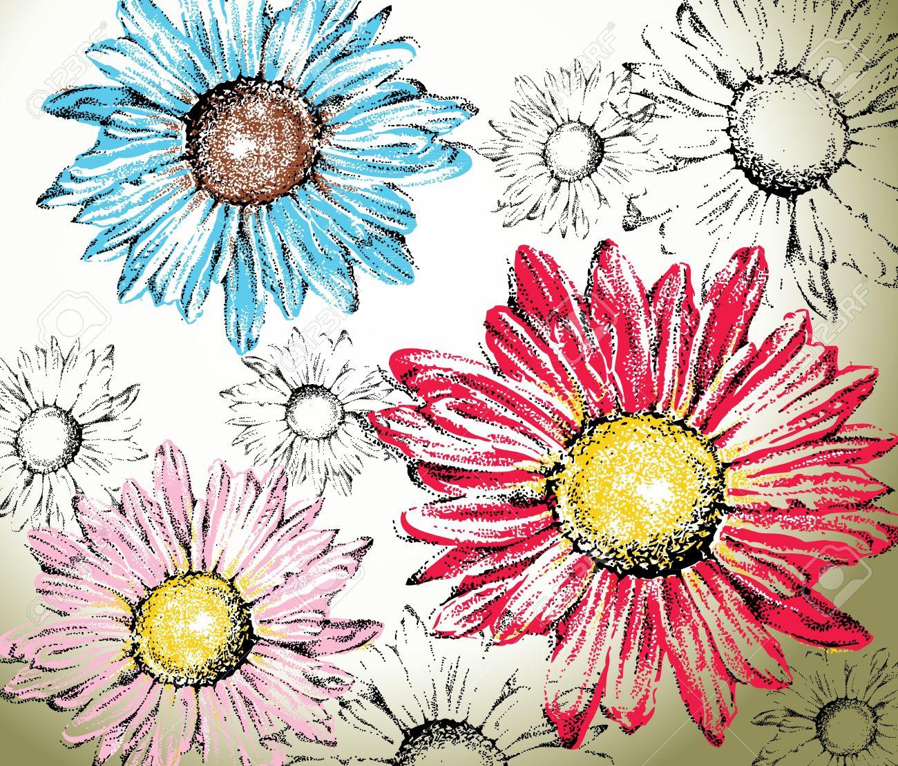 Dibujado A Mano De Fondo Flores Margaritas Para Colorear Fáciles
