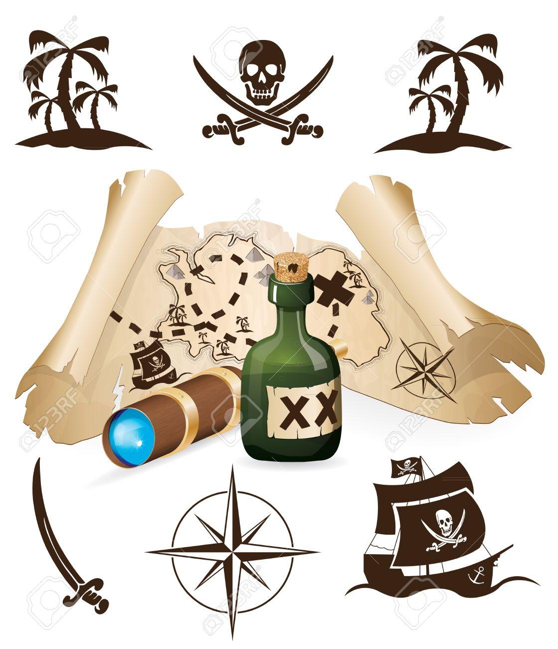 Treasure map, pirate collection - 12711039