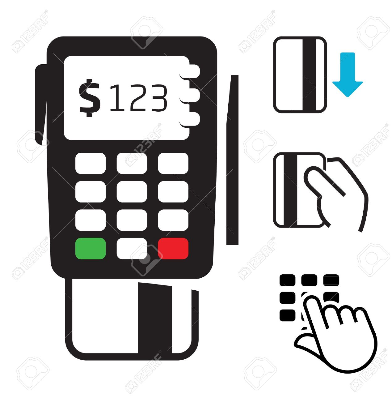 POS-terminal and credit card icons - 12711041