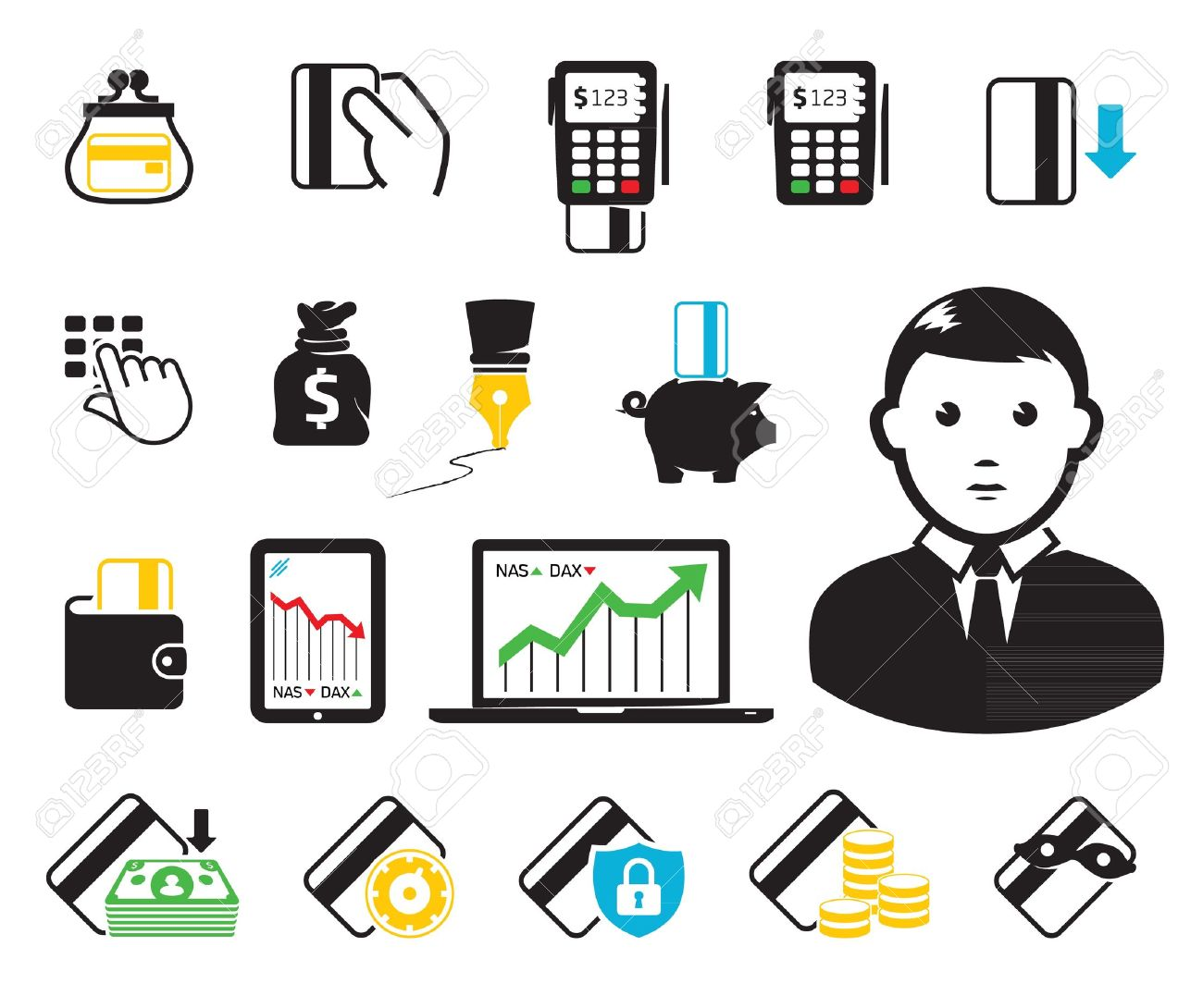POS-terminal and credit card icons - 12711042