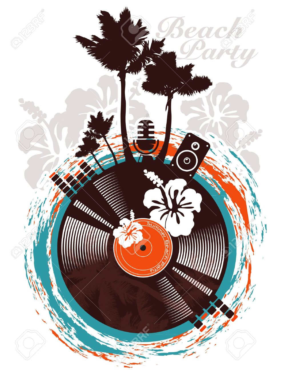 Beach party poster in tropical style - 12711043