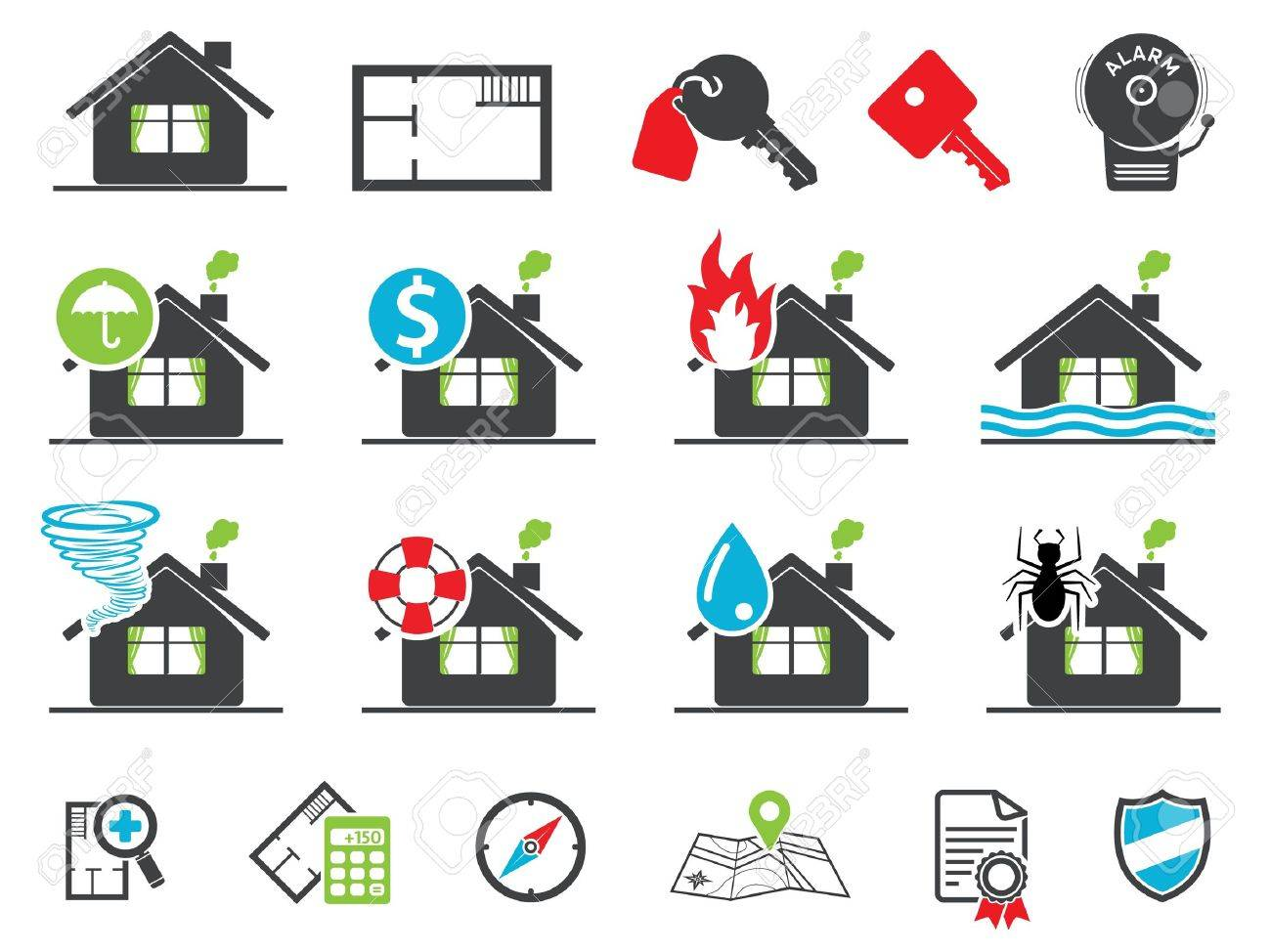Estate insurance icons, set - 12843044