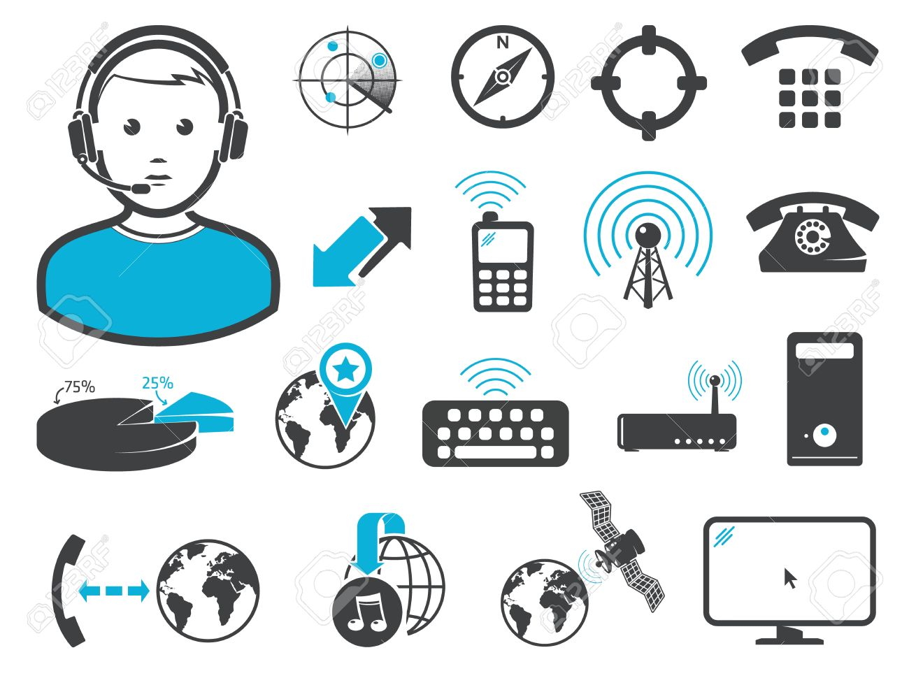 Wireless connection technologies, icons and signs, set Stock Vector - 12843239