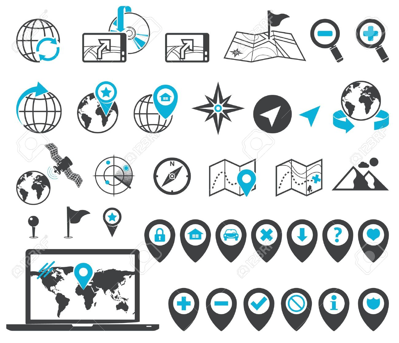 Map, Location And Destination Markers And Icons Royalty Free ...