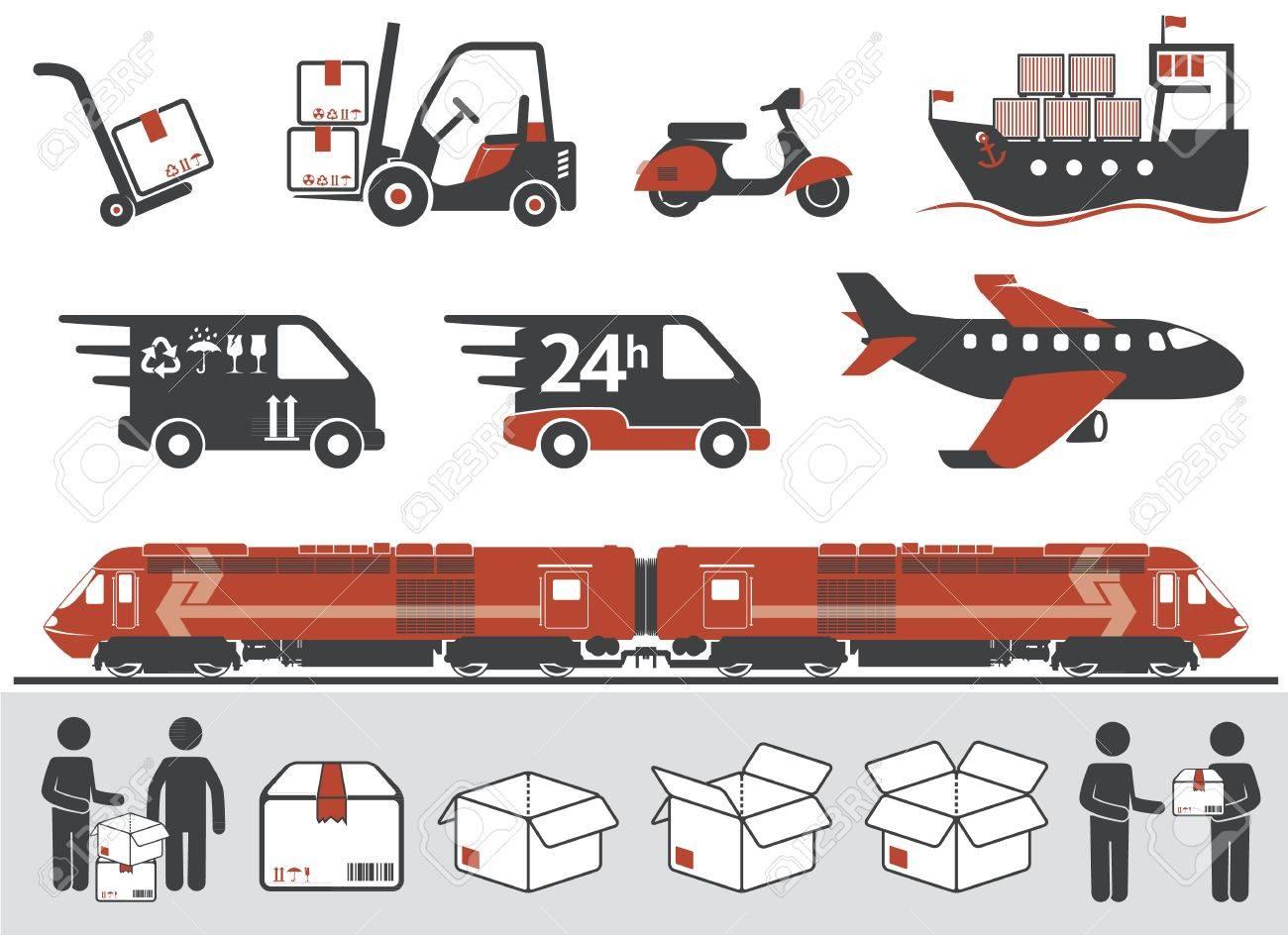 Mail delivery, transportation symbols, boxes - 13295513