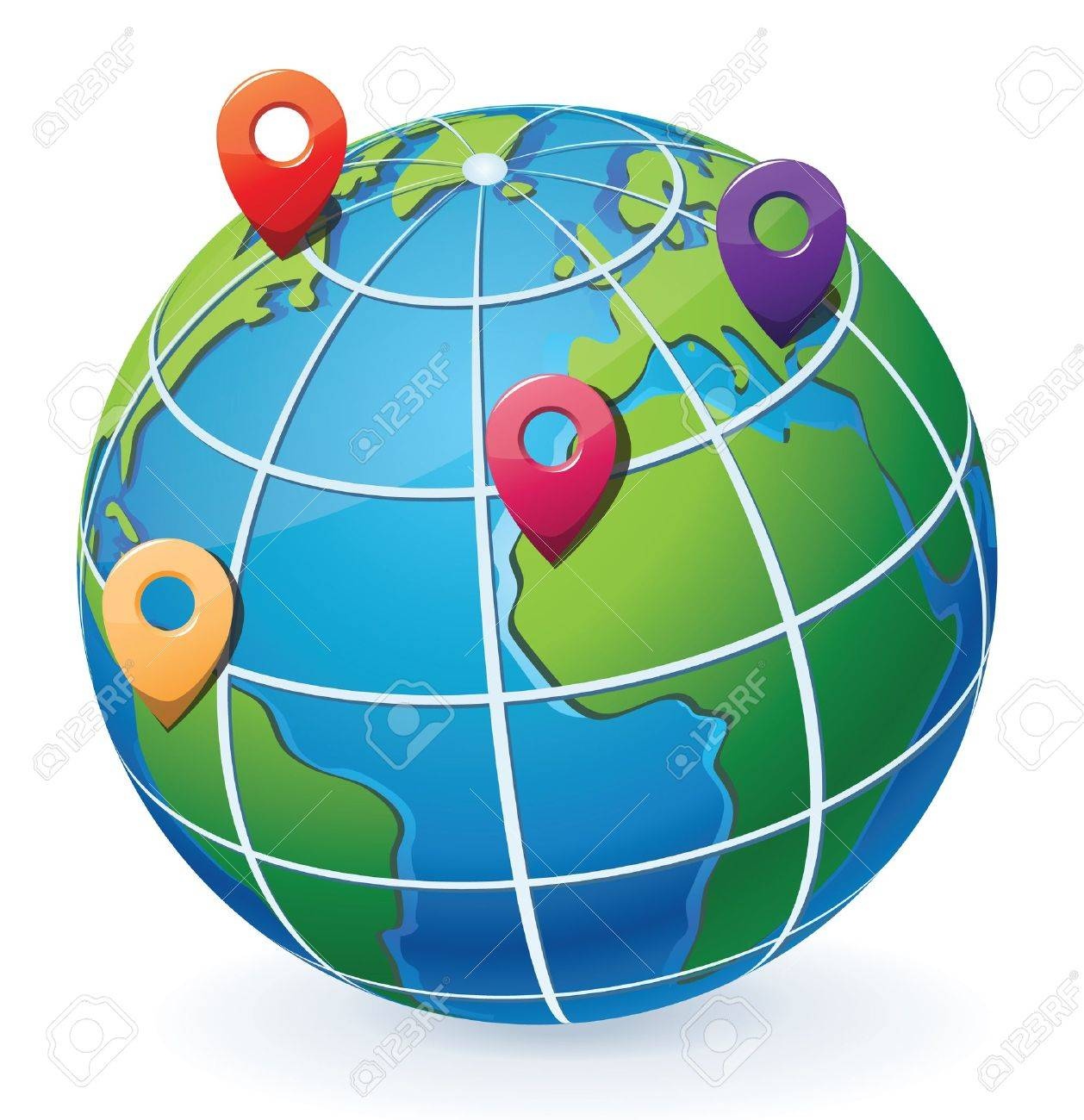 Globe with location pointers - 14965683