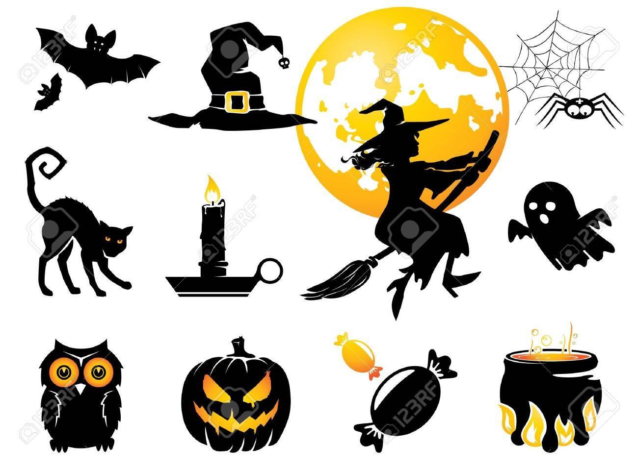 Halloween set, black /orange figures for decoration - 15521688