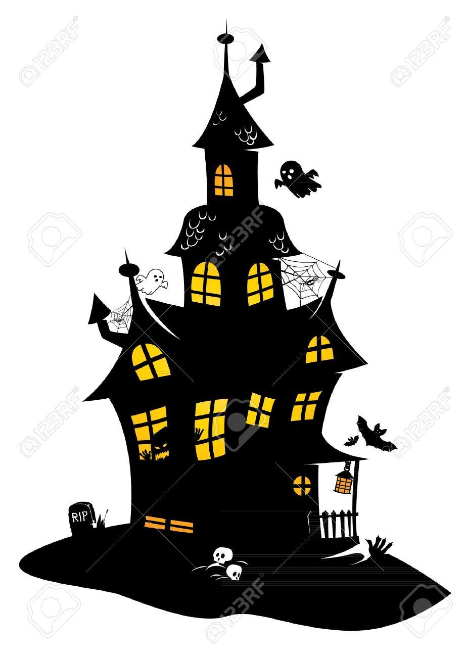 Dessin Traditionnel De Noir De Halloween Manoir Avec Des Monstres Et Des Fantômes Les Chauves Souris