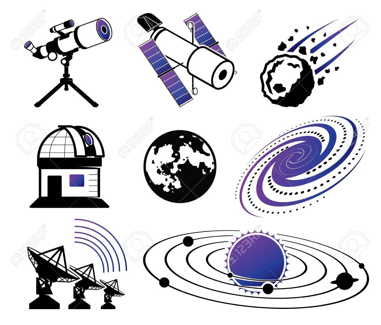 Astronautics and Space Icons; science and technology elements Stock Vector - 15630851