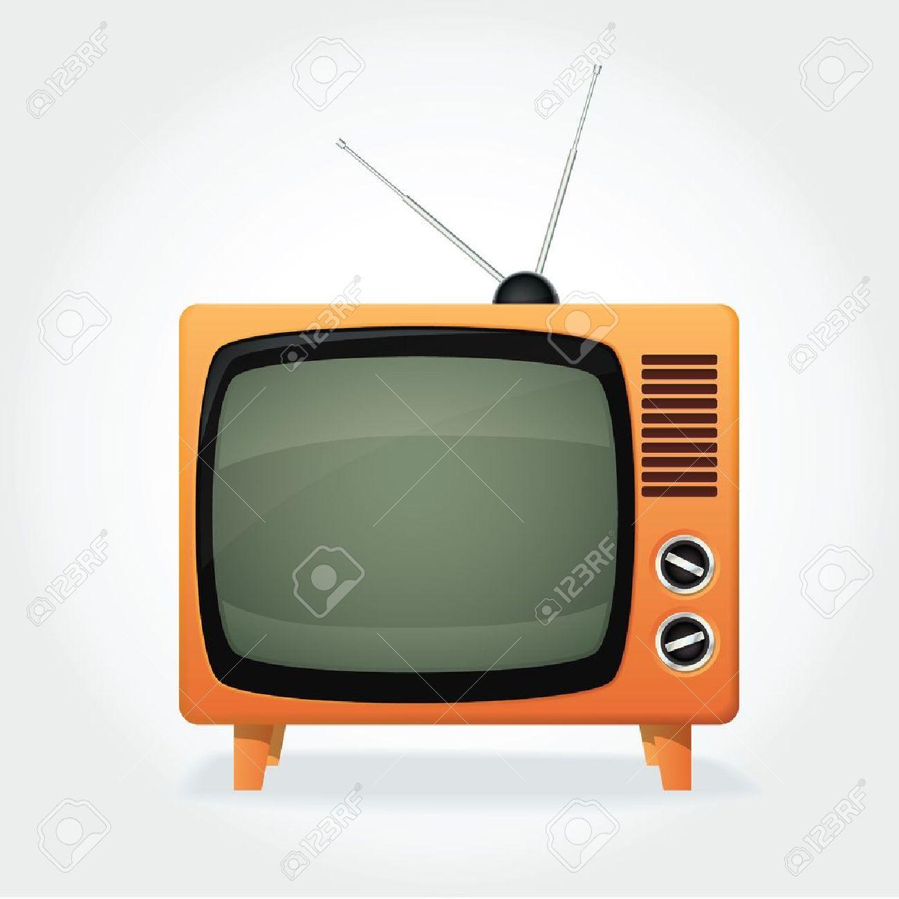 CUte retro TV set, orange cover and tiny antenna Stock Vector - 15630849