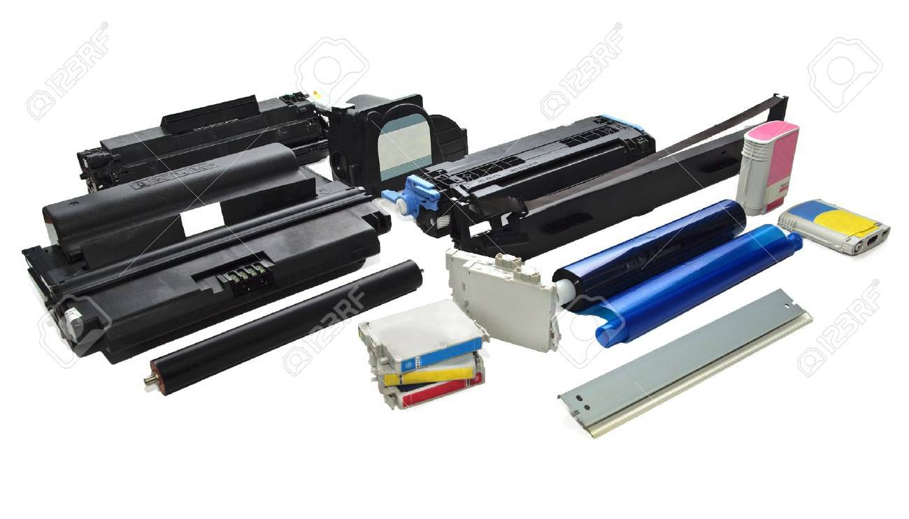 Spare parts, ink and cartridges for printers, scanners Stock Photo - 17469057