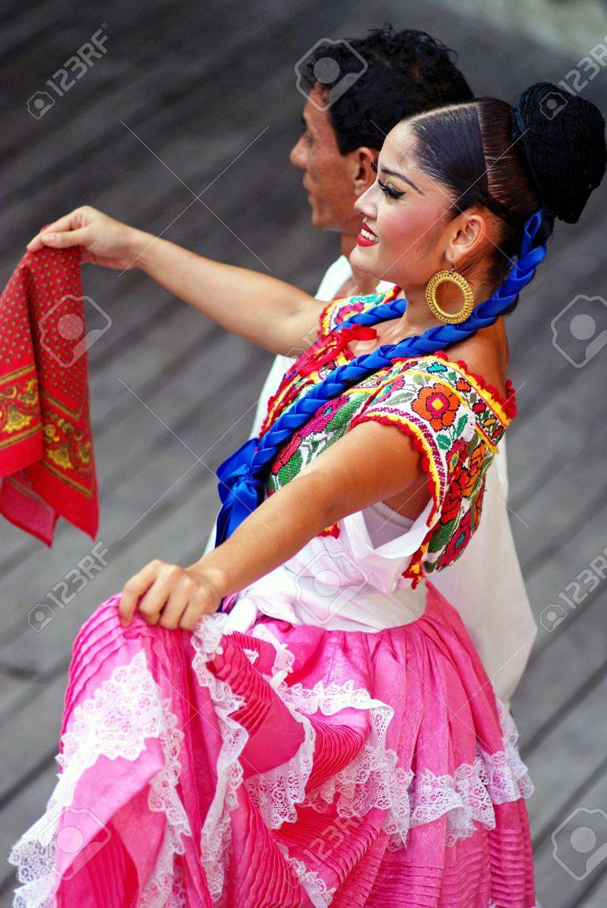 Dancer wearing ethnic costume. Stage of Xcaret park in Riviera Maya, Cancun, Mexico. June 2012 Stock Photo - 18112065