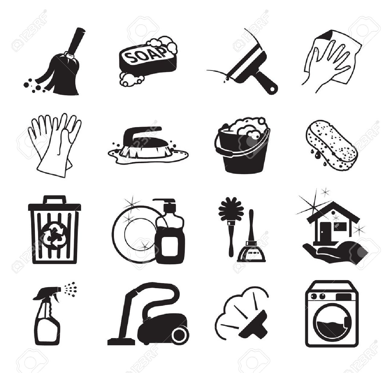 Monochromatic cleaning icons - 19841752
