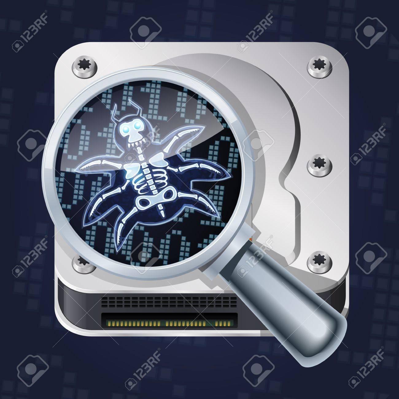 Bug search. Cartoon computer bug or virus under magnifier. Stock Vector - 20654617