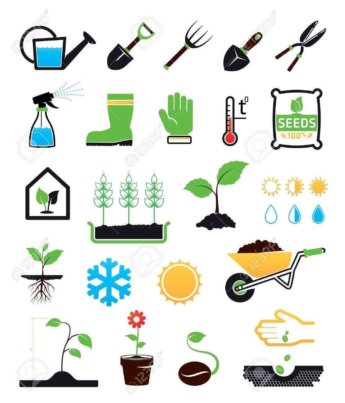 Gardening icons set - 20654378