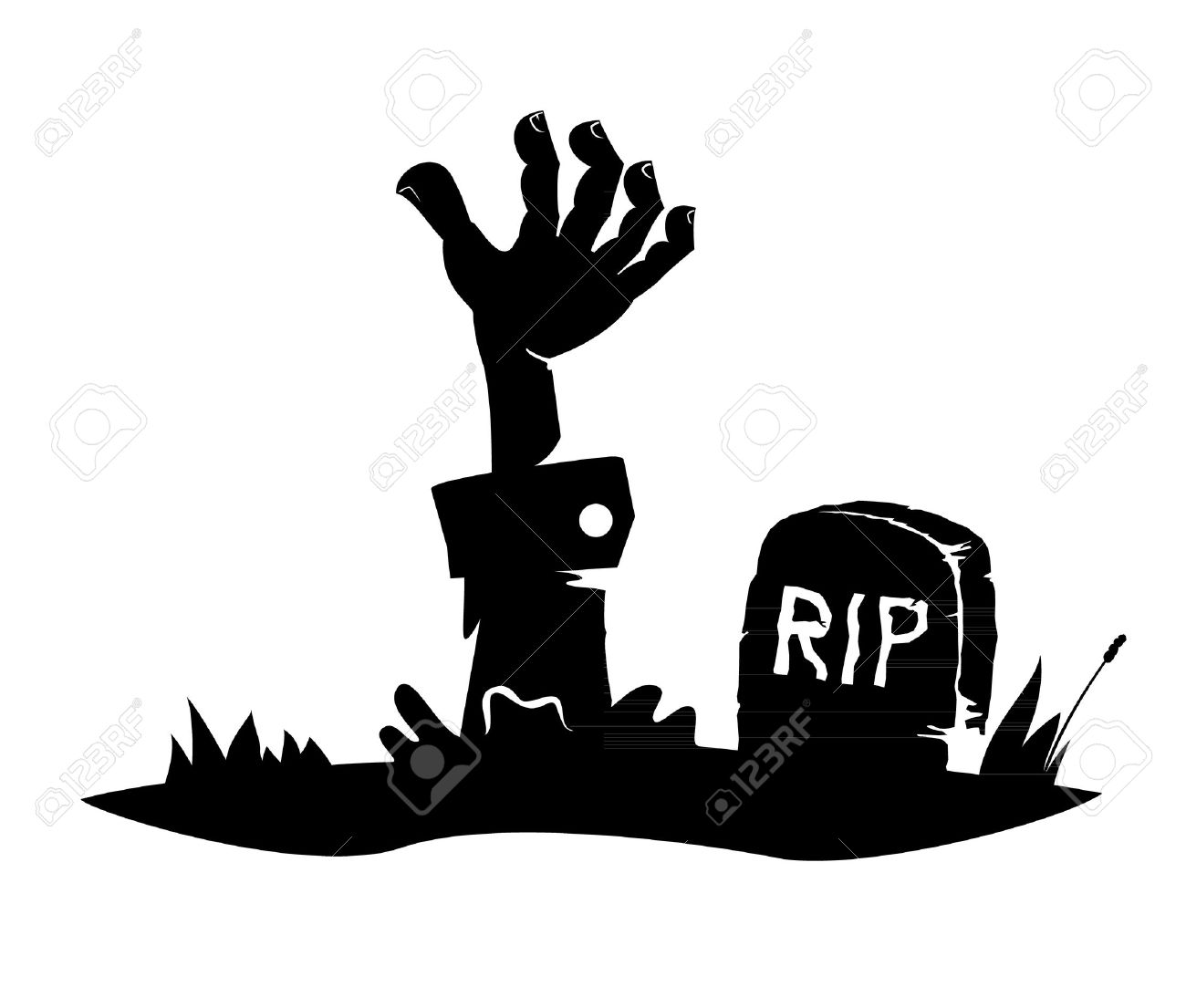 Hand reaching from the grave, simple drawing, icon Stock Vector - 20654236