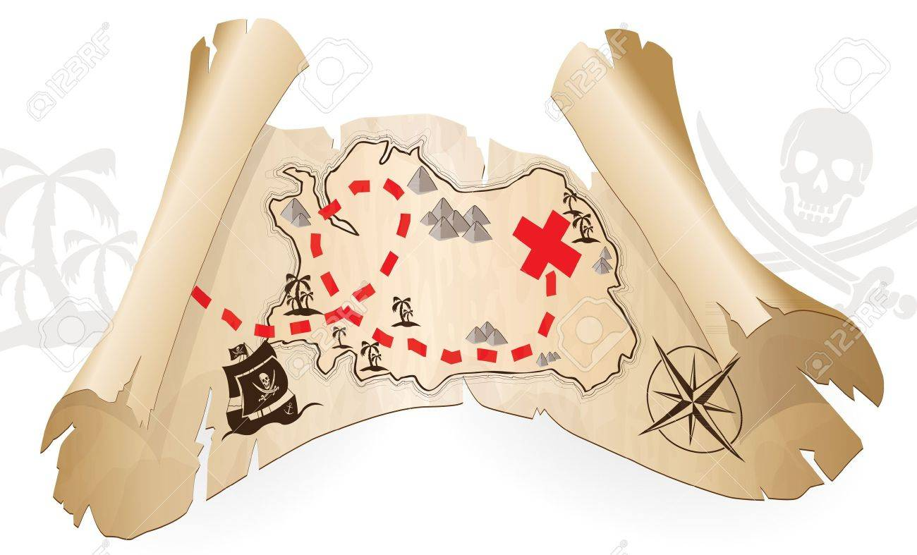 Pirate map, way to treasure - 20654524