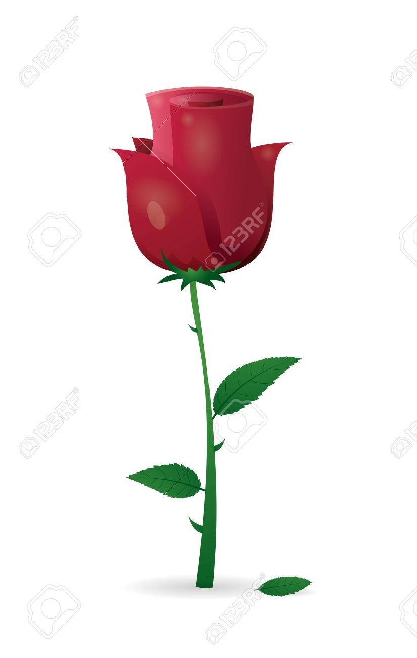 red rose, fleur mignonne avec tige clip art libres de droits