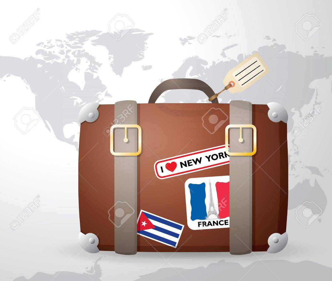 Vintage suitcase with stickers world map in the background royalty vector vintage suitcase with stickers world map in the background gumiabroncs Image collections