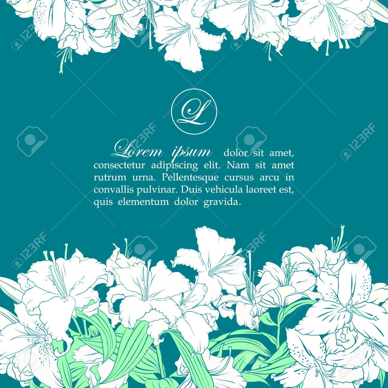 Card template with white lilies - 35773296