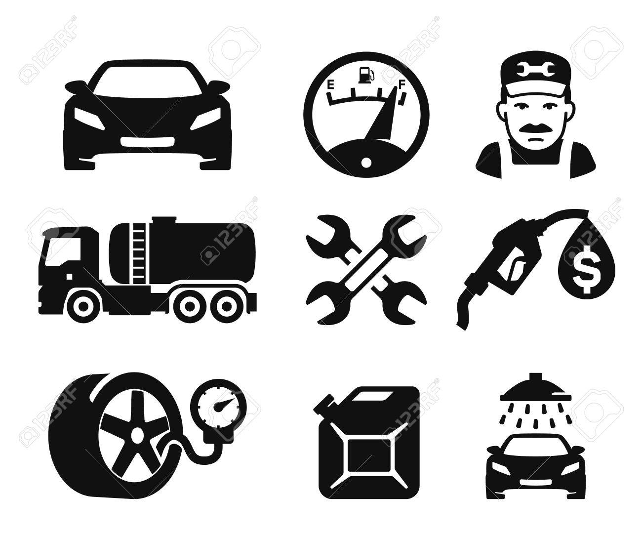 Gas station and Fuel pump icons set 02 - 35836037