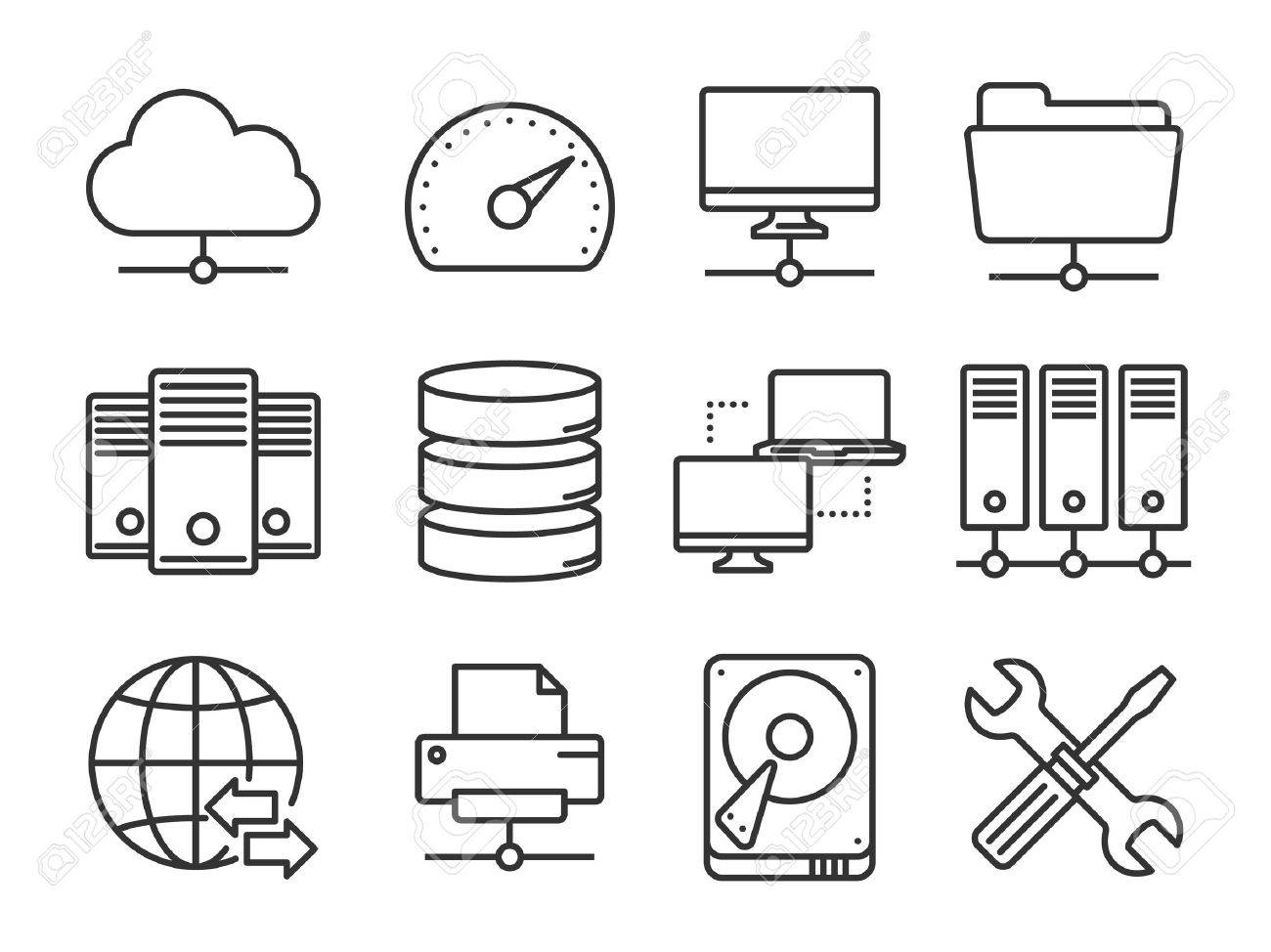 Internet and network icons set - 36145522