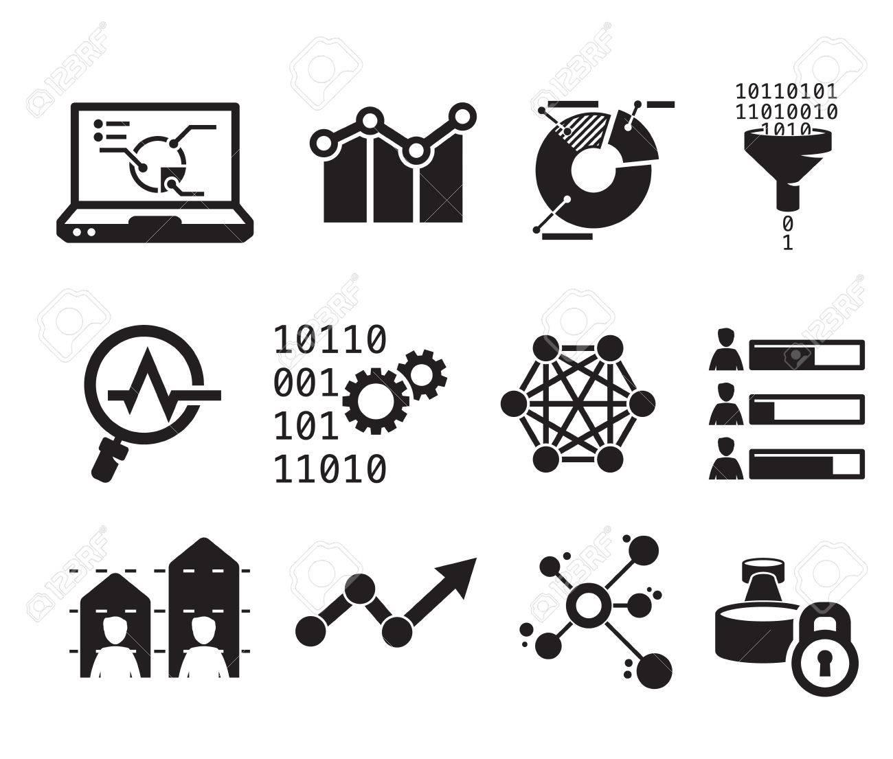 Data analytic icon set BW - 36145535