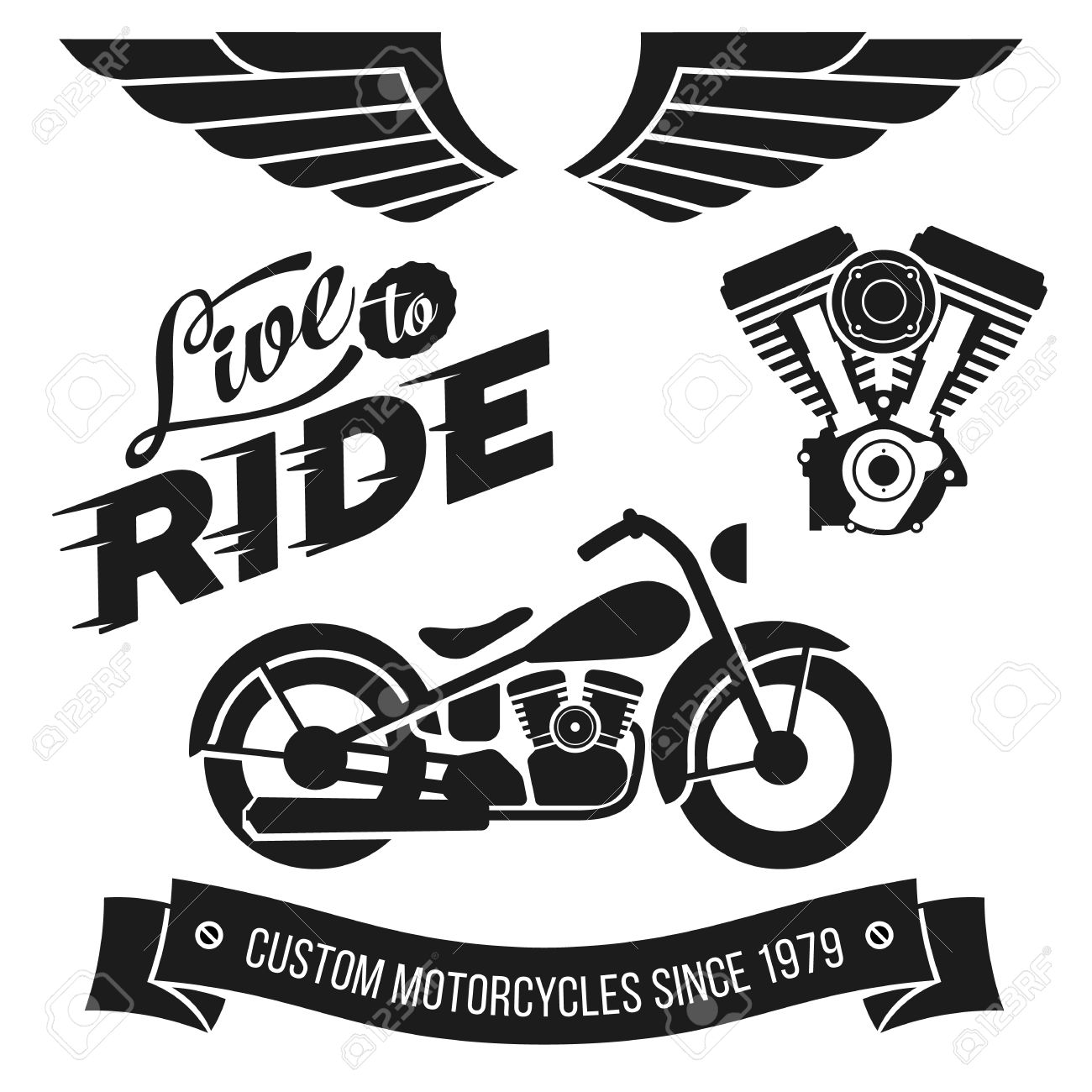 24dead032d1eb Vector - Vintage motorcycle design elements collection. Lettering Live To  Ride