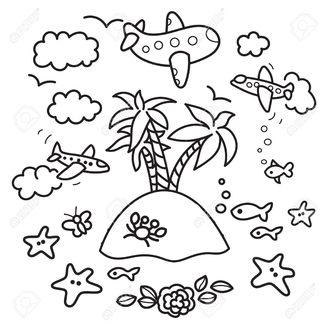 Fish tank drawing pictures - Freehand Drawing Paradise Island In Fish Tank Flying Airplanes Concept Of Dream About